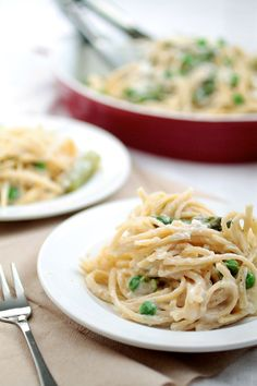 Goat Cheese Pasta with Spring Vegetables   This easy spaghetti recipe ...