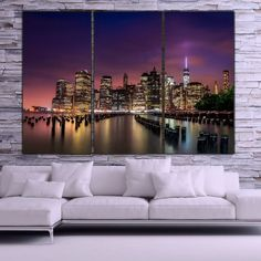New York City Skyline at it's Best. This large 3 piece canvas set is a great way to fill your large wall. Magnificent sky background makes this a truly unique piece of art. SHOP WITH CONFIDENCE FROM H