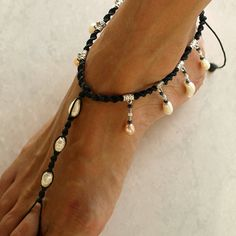 Stylish black India style barefoot sandals Romantic and elegant Macrame, dangling pearl barefoot sandals for your beach wedding, vacation and yoga. Adjustable Available in women size: S (US 4 1/2 to 6), M (US 6 1/2 to 9 1/2), L (US 10 to 13) For other countries: S (Europe 34 to 36), M