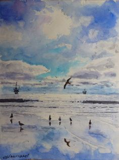 Watercolor Painting Original Winter on the Beach one-of-a-kind Art signed  #Realism