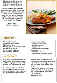 Stew Leonard's Recipe for Blackened Salmon with Mango Salsa! Flat Seed, Stew Leonard's, Blackened Salmon, Family Meals, Family Recipes, Mango Salsa, Tropical Fruits, Food To Make, Seafood
