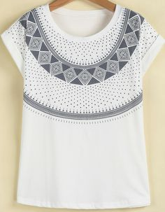 White Short Sleeve Geometric Print Loose T-Shirt pictures