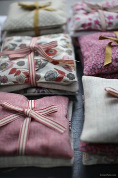 Homemade lavender bags are wonderful for tucking into a drawer, your bathroom linens and under your pillow to help you sleep. They're also lovely to throw into the dyer with your clothes. Love!