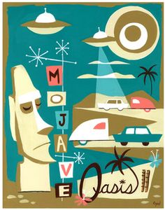 Mojave Oasis Art By El Gato Gomez ( inspired by the real private RV park 45931 Silver Valley Rd Newberry springs California 92365 -sorry normally no flying saucers there - but it is a private park so maybe El Gato Gomez knows something ) Mid Century Modern Decor, Mid Century Art, Modern Retro, Retro Art, Illustrations, Illustration Art, Vintage Posters, Vintage Art, Retro Posters
