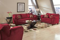 living rooms with bugundy sofas | Burgundy Micro Suede Contemporary Living Room Sofa w/Options