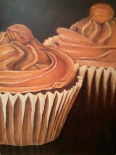 Cupcakes, Oil on canvas; by gianna martucci-fink