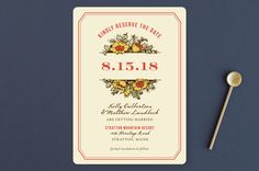 """Harvest Floral"" - Rustic, Floral & Botanical Save The Date Cards in Poppy by Paper Dahlia."
