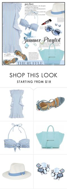 """""""PERFECT RUFFLE SUMMER"""" by licethfashion ❤ liked on Polyvore featuring Pinko, Schutz, Anja, H&M, CÉLINE, Barneys New York, Melissa Odabash, Lydell NYC, ruffles and polyvoreditorial"""