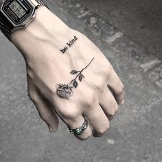 Watch and hand tattoos Hand Tattoos For Guys, Finger Tattoos, Body Art Tattoos, Sleeve Tattoos, Tattoos For Women, Tattoo Ink, Tattoo Wave, Tattoo Maori, Sanskrit Tattoo