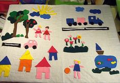 Feltboard for spatial concepts - put the fish in the water, put the clouds in front of the sun.