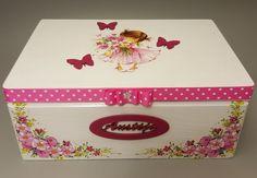 Recuerdo de bebé personalizada y caja de la memoria, caja de Decoupage, bautizo bautismo caja, caja de madera, regalo para bebé niña, mariposa