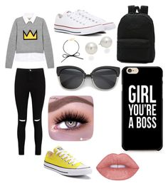 """""""Going to the mall"""" by dsanford-1 ❤ liked on Polyvore featuring Alice + Olivia, Boohoo, Converse, Vans, AK Anne Klein and BaubleBar"""