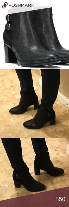 Naturalizer Falza Black Ankle Boot Sz 8 Excellent condition!  Soooo comfortable and stylish.   Leather upper in a tailored boot style with a round toe; Side zip closure; Decorative strap and buckle details;Non-slip outsole for stability, 3 inch heel.  On sale for $99.99 now - original price $169. Naturalizer Shoes Ankle Boots & Booties