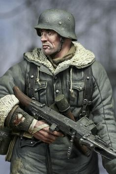 _ Here's my 1996 rendition of John Rosengrant's famous sculpt released by Kirin Models. German Soldiers Ww2, German Army, Toy Soldiers, Hobbies For Men, Model Hobbies, Military Action Figures, German Uniforms, Military Modelling, War Photography