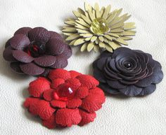 leather flowers - Google Search
