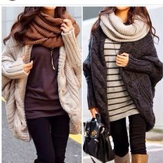Cozy Fall Outfits With Oversized Cardigans and Loop Scarves