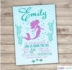 Mermaid Birthday Invitations Chevron Little Mermaid Silhouette Theme Purple Aqua Teal Blue Glitter Cute Invitations Swimming Party Printable by cardmint on Etsy https://www.etsy.com/listing/230997676/mermaid-birthday-invitations-chevron