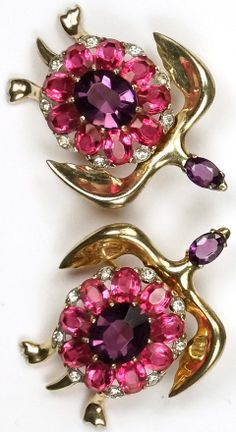 Mazer Sterling Amethyst and Pink Topaz Turtle Pins and Clip Earrings Set