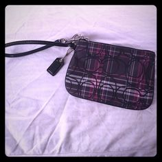 Authentic Coach Wristlet Authentic Coach Wristlet, perfect condition. Purple, black, white and teal plaid. cute and stylish! has a small side pocket inside. Coach Bags Clutches & Wristlets