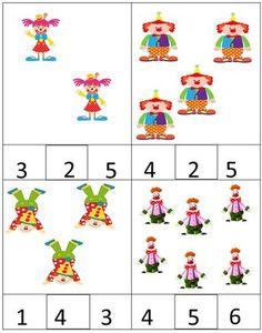 (2015-03) 2-6 Preschool Circus, Me Preschool Theme, Circus Activities, Math Activities For Kids, Numbers Preschool, Preschool Lesson Plans, Kindergarten Math, Preschool Activities, Preschool Classroom