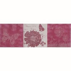 This whimsical and angelic painting makes the perfect addition to your princess' bedroom with its soft shades of rose white and grey. Each of the three squares is painted differently. The first a butterfly the second a flower with a hovering butterfly and the last square has a dandelion field with floating butterfly.