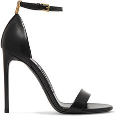 TOM FORD Leather sandals ($840) ❤ liked on Polyvore featuring shoes, sandals, heels, sapatos, evening sandals, leather sandals, strappy sandals, strappy high heel sandals and black strap sandals