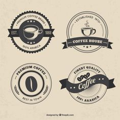 More than a million free vectors, PSD, photos and free icons. Exclusive freebies and all graphic resources that you need for your projects Coffee Shop Signs, Coffee Shop Logo, Coffee Branding, Café Vintage, Vintage Coffee, Vintage Logo Design, Vintage Logos, Graphic Design, White Coffee Cups