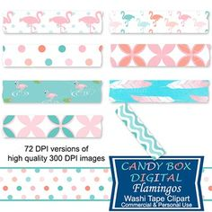 Fun aqua, pink and coral flamingos play across these digital washi tape. Just the thing to set off your favorite photos on your blog or in your digital scrapbook. Use them to embellish your pictures and mementos. At our Teachers Pay Teachers shop.