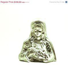 ON SALE virgin mary statue, pop art, sculpture, religious decor, madonna, catholic, chrome, metallic silver