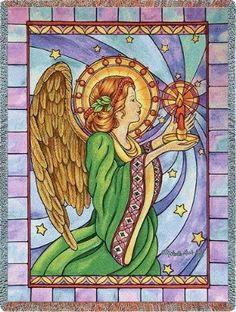 Stain Glass Angel (Tapestry Throw)