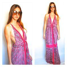 Vintage VTG 60s 1960s Maxi Dress Sun Summer Beach Beachy California Girl Hippie Bohemian Gypsy Pink Paisley Halter Low Plunge Tank Small Med...