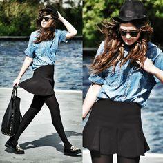 Sheinside Shoes, Zara Bag, Zara Skirt, Blanco Denim Shirt, Ray Ban Glasses
