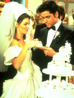 """Uncle Jesse (John Stamos) and Becky (Lori Loughlin) hit a lot of snafus on their big day: he goes skydiving and ends up in jail, she ends up driving a bus to their party. It all works out in the end, though: who could forget Jesse's sweet dedication of """"Forever"""" during their ceremony? Photo courtesy of ABC, Inc."""