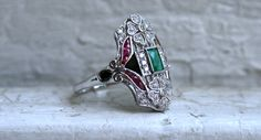 RESERVED - Stunning Vintage 18K White Gold Diamond, Emerald, Ruby, and Onyx Engagement Ring - 1.46ct.