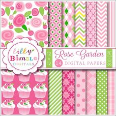 Rose Garden digital papers for cards, scrapbooking by Lilly Bimble