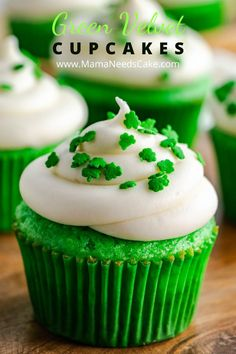 These Green Velvet Cupcakes are made from scratch and have a moist and fluffy texture.  Topping these delicious cupcakes is a homemade cream cheese frosting.  Perfect for birthdays or St. Patrick's Day! #stpatricksday #stpattysday #green #redvelvet #cupcakes #creamcheese #baking #dessert #holiday #frosting #dessert