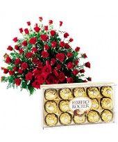 150 Red Roses Arrangement with 16 pcs Ferrero Rocher chocolate box