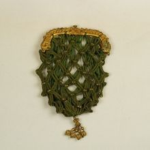 Antique Regency 1800's Purse, Gilt Frame, Lucet Cord And Bead Work Georgian 1810
