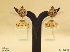 Manekratna Jhumki Kemp Stone Earrings