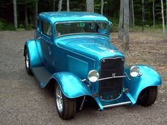 teal blue ford hot rod