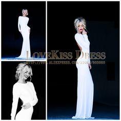Sexy Vestidos De Fiesta Scoop Neck Open Back With Long Sleeve Elegant White Prom Dress DYQ907 $118
