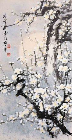 Chinese brush painting - plum blossoms by Chen Da Zhang. 陈大章作品