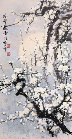 Chinese brush painting - plum blossoms by Chen Da Zhang. 陈大章作品