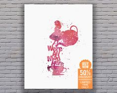 We're All Mad Here Alice in Wonderland Decorations Mad Hatter Wonderland Decor Disney Nursery Disney Wall Art Instant Download Art