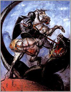 http://simonbisleyart.com - Bible Heroes - St. George slaying the dragon