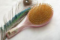 Peacock hair Brush Decoupage Hairbrush Hand by InspirellaDesign