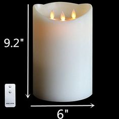 92Huge Dancing Wick Battery Operated Wax Pillar Candle with Timer  Ivory ** Be sure to check out this awesome product.