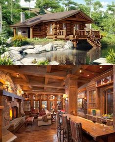 A rustic lodge cabin on the lake.oh my stars Log Cabin Homes, Cottage Homes, Log Cabins, Cabins In The Woods, House In The Woods, Cabins And Cottages, House Goals, My Dream Home, Future House