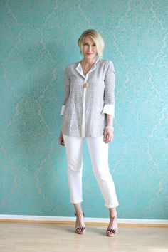 A fashion blog for women over 40 and mature women http://glamupyourlifestyle.blogspot.de/ Blouse + Shoes: Dorothee Schumacher Pants: NYDJ