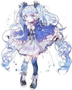 blue_eyes blue_hair boots dress full_body hair_ornament hatsune_miku long_hair loose_socks piyo_(ppotatto) simple_background single_thighhigh socks solo thigh-highs twintails very_long_hair vocaloid white_background Cute Anime Chibi, Fantasy Character Design, Character Design Inspiration, Cute Anime Character, Character Art, Arte Fashion, Elsword, Beautiful Anime Girl, Character Design